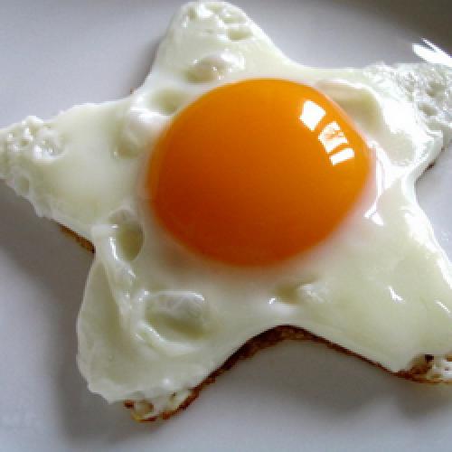 Жареная яичница на завтрак.